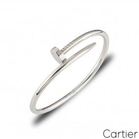 Cartier White Gold Plain Juste Un Clou Bracelet Size 18 B6048318